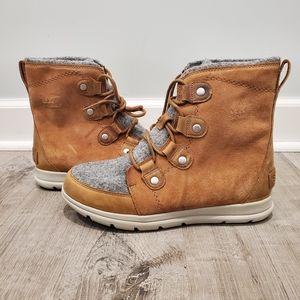 NWTSorel Explorer Joan Camel Brown Gray Wool Boot